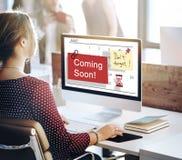 Ερχομός έννοια σημαδιών σύντομα διαφήμισης Annoucement Στοκ εικόνα με δικαίωμα ελεύθερης χρήσης