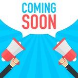 Ερχομός σύντομα διανυσματικό έμβλημα Megaphone ανακοίνωσης Megaphone έννοια διανυσματική απεικόνιση