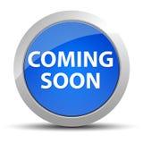 Ερχομός σύντομα μπλε στρογγυλό κουμπί διανυσματική απεικόνιση