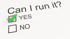 Ερωταποκρίσεις: Μπορώ να το τρέξω - ναι τρισδιάστατη εννοιολογική απόδοση Στοκ φωτογραφίες με δικαίωμα ελεύθερης χρήσης