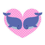 Ερωτευμένη και μεγάλη διαστιγμένη καρδιά δύο φαλαινών Απεικόνιση αποθεμάτων