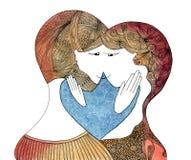 Ερωτευμένο - εξετάζοντας ο ένας τον άλλον - χρώμα watercolor ζεύγους Στοκ εικόνα με δικαίωμα ελεύθερης χρήσης