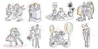 Ερωτευμένο σύνολο ζεύγους Ευτυχή ρομαντικά ζεύγη ελεύθερη απεικόνιση δικαιώματος