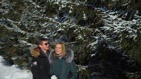 Ερωτευμένο χαμόγελο ζεύγους και αγκάλιασμα στο χειμερινό πάρκο απόθεμα βίντεο