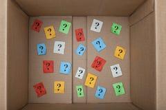 Ερωτηματικά μέσα ενός κουτιού από χαρτόνι Στοκ εικόνες με δικαίωμα ελεύθερης χρήσης