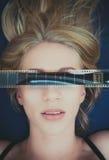 Ερωτικός ενήλικος κινηματογράφος προκλητικών ξανθών γυναικών συμβόλων προσώπου στοκ εικόνες