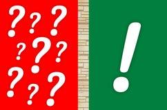 ερώτηση σημαδιών σημαδιών θαυμαστικών Στοκ φωτογραφία με δικαίωμα ελεύθερης χρήσης