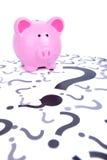Ερώτηση τραπεζών Piggy Στοκ Εικόνες