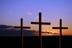 εσένα ηλιοβασιλέματος σταυρών στοκ εικόνα