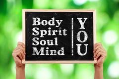 Εσείς μυαλό ψυχής πνευμάτων σώματος Στοκ Φωτογραφία