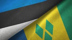 Εσθονία και Άγιος Βικέντιος και Γρεναδίνες δύο υφαντικό ύφασμα σημαιών διανυσματική απεικόνιση