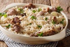 Εσθονικό αργός-μαγειρευμένο τρόφιμα χοιρινό κρέας Mulgikapsas με sauerkraut, τα κρεμμύδια και την κινηματογράφηση σε πρώτο πλάνο  στοκ φωτογραφία
