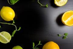 Εσπεριδοειδή στο μαύρο υπόβαθρο Τοπ όψη Κανένα Photoshop χρησιμοποιούμενο Αντίγραφο SP Στοκ εικόνα με δικαίωμα ελεύθερης χρήσης