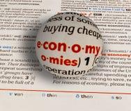 Εστίαση στην οικονομία λέξης Στοκ εικόνα με δικαίωμα ελεύθερης χρήσης