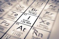 Εστίαση στο χημικό στοιχείο ιωδίου διανυσματική απεικόνιση