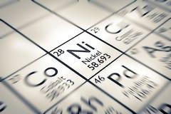 Εστίαση στο χημικό στοιχείο νικελίου ελεύθερη απεικόνιση δικαιώματος