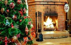 Εστία στη Παραμονή Χριστουγέννων Στοκ Εικόνες