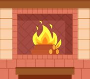 Εστία τούβλου, ξύλινα κούτσουρα, φωτεινή καίγοντας πυρκαγιά ελεύθερη απεικόνιση δικαιώματος