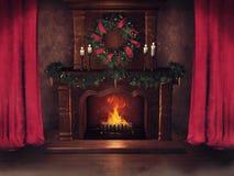 Εστία Χριστουγέννων και κόκκινες κουρτίνες ελεύθερη απεικόνιση δικαιώματος