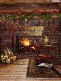 Εστία Χριστουγέννων με τις γιρλάντες απεικόνιση αποθεμάτων