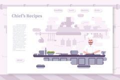 Εστιατορίων επίπεδο διανυσματικό πρότυπο σελίδων χρώματος προσγειωμένος απεικόνιση αποθεμάτων