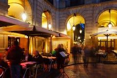 Εστιατόρια οδών σε Placa Reial. Βαρκελώνη Στοκ Εικόνα
