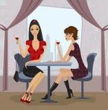 εστιατόριο δύο γυναίκε&sigmaf Απεικόνιση αποθεμάτων