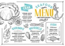 Εστιατόριο επιλογών θαλασσινών, πρότυπο τροφίμων Στοκ εικόνα με δικαίωμα ελεύθερης χρήσης