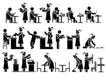 Εστιατόριο θέματος των Μαύρων ατόμων εικονιδίων Στοκ φωτογραφία με δικαίωμα ελεύθερης χρήσης