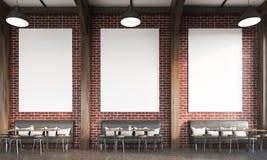 Εστιατόριο με τους καναπέδες και τους τουβλότοιχους απεικόνιση αποθεμάτων