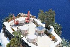 Εστιατόριο πολυτέλειας σε Santorini Στοκ εικόνες με δικαίωμα ελεύθερης χρήσης