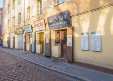 Εστιατόριο στην οδό Szeroka - Κρακοβία στοκ εικόνα