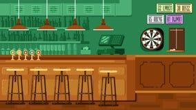 Εστιατόριο φραγμών με το μετρητή στο επίπεδο ύφος Στοκ Εικόνες