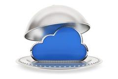 Εστιατόριο cloche με το σύμβολο υπολογισμού σύννεφων Στοκ φωτογραφία με δικαίωμα ελεύθερης χρήσης