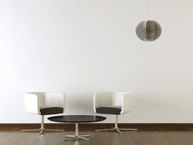Εσωτερικά μαύρα έπιπλα σχεδίου στον άσπρο τοίχο Στοκ Εικόνες