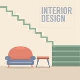 Εσωτερικά σκαλοπάτια σχεδίου με τον καναπέ Στοκ εικόνα με δικαίωμα ελεύθερης χρήσης