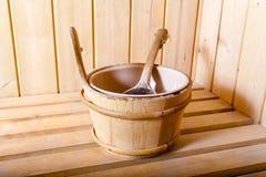 Εσωτερικές άνετες ξύλινες room spa εσωτερικές λεπτομέρειες σαουνών Στοκ φωτογραφία με δικαίωμα ελεύθερης χρήσης