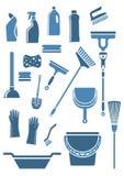 Εσωτερικές καθαρίζοντας εργαλεία και προμήθειες Στοκ Φωτογραφία