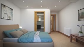 Εσωτερικές κρεβατοκάμαρες σχεδίου σε ένα εξοχικό σπίτι απόθεμα βίντεο