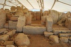 Εσωτερικές δομές του megalithic ναού Hagar Qim στη Μάλτα Στοκ Φωτογραφίες