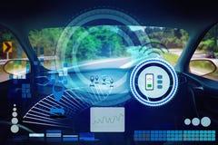 Εσωτερική άποψη, οθόνη επίδειξης και αυτόματη μόνη οδήγηση Ηλεκτρική έξυπνη τεχνολογία αυτοκινήτων στοκ εικόνες