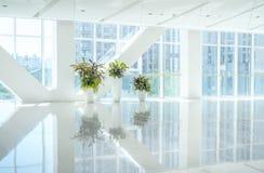 Εσωτερική άποψη που κοιτάζει έξω προς στις κενές πόρτες λόμπι και εισόδων γραφείων και τον τοίχο κουρτινών γυαλιού με το πλαίσιο Στοκ Εικόνες
