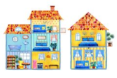 Εσωτερική άποψη των διαφορετικών σπιτιών κινούμενων σχεδίων με τα έπιπλα και τις διακοσμήσεις Συρμένη χέρι απεικόνιση watercolor Στοκ Εικόνα