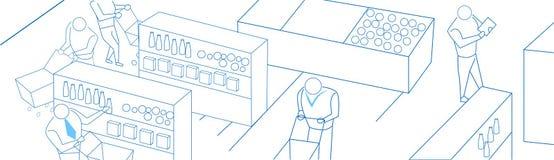 Εσωτερική έννοια υπεραγορών κάρρων αγορών επιχειρηματιών στο άσπρο έμβλημα σκίτσων υποβάθρου doodle Στοκ Εικόνες