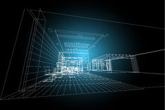 Εσωτερική αφηρημένη, τρισδιάστατη απεικόνιση αρχιτεκτονικής, εμπορικό σχέδιο οικοδόμησης δομών κτηρίου Στοκ Εικόνα