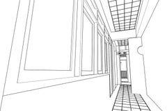 Εσωτερική αφηρημένη, τρισδιάστατη απεικόνιση αρχιτεκτονικής, σχέδιο ορόφων Στοκ Φωτογραφίες