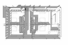Εσωτερική αφηρημένη, τρισδιάστατη απεικόνιση αρχιτεκτονικής, σχέδιο ορόφων Στοκ φωτογραφία με δικαίωμα ελεύθερης χρήσης