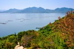 Εσωτερική θάλασσα κοντά στη Χιροσίμα με τα ράφια στρειδιών, Ιαπωνία Στοκ Εικόνες