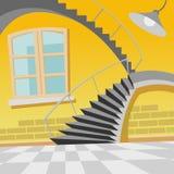 Εσωτερική καμπύλη σκαλών κινούμενων σχεδίων στο δωμάτιο ελεύθερη απεικόνιση δικαιώματος