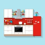 εσωτερική κουζίνα Επίπεδη απεικόνιση ύφους Στοκ Εικόνες
